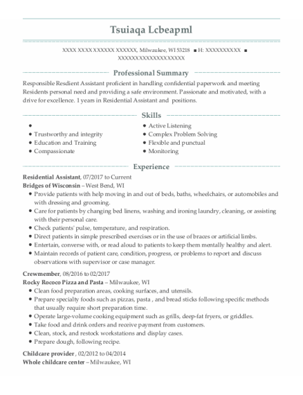 Residential Assistant resume example Wisconsin