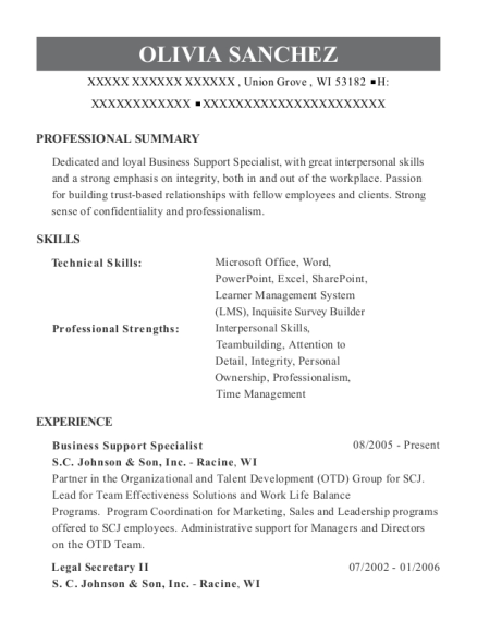 Business Support Specialist resume format Wisconsin