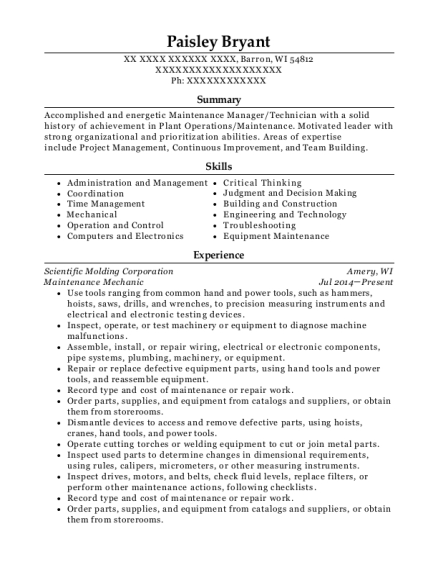 Maintenance Mechanic resume example Wisconsin