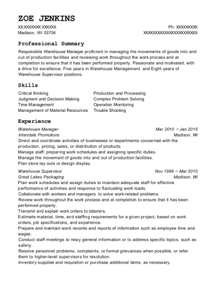 Warehouse Manager resume format Wisconsin