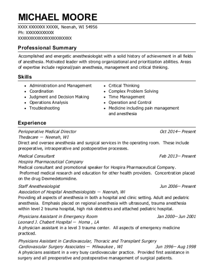 Perioperative Medical Director resume template Wisconsin