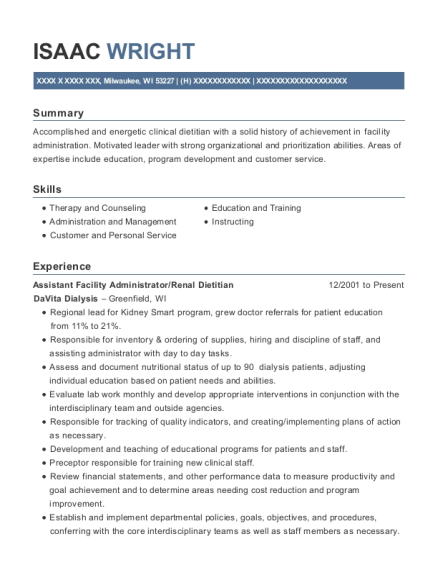 davita dialysis facility administrator resume sample