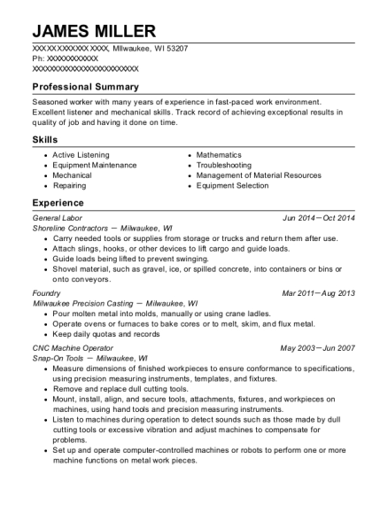 General Labor resume template Wisconsin