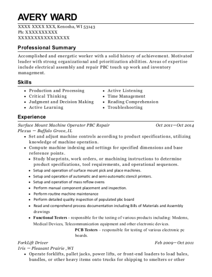 Surface Mount Machine Operator PBC Repair resume example Wisconsin