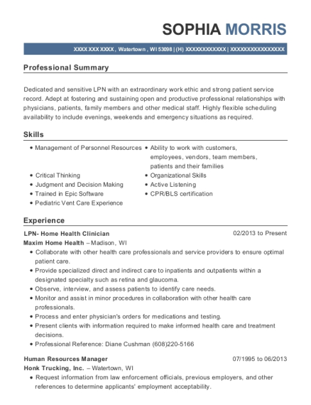 LPN Home Health Clinician resume template Wisconsin