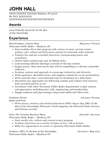 Host resume template Wisconsin