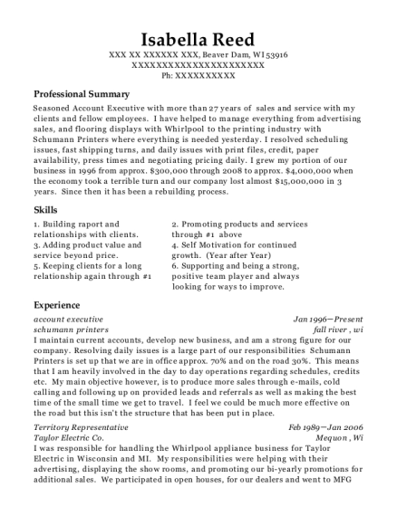 Account Executive resume example Wisconsin
