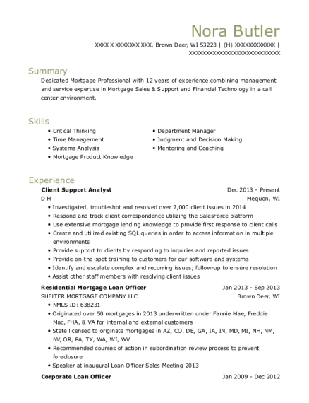 Client Support Analyst resume sample Wisconsin
