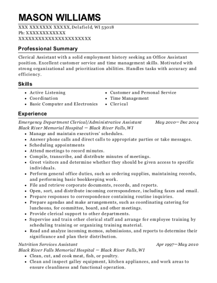 Emergency Department Clerical resume example Wisconsin