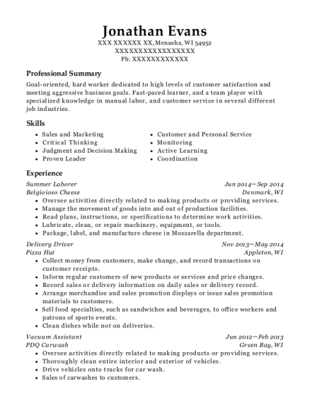 Summer Laborer resume template Wisconsin