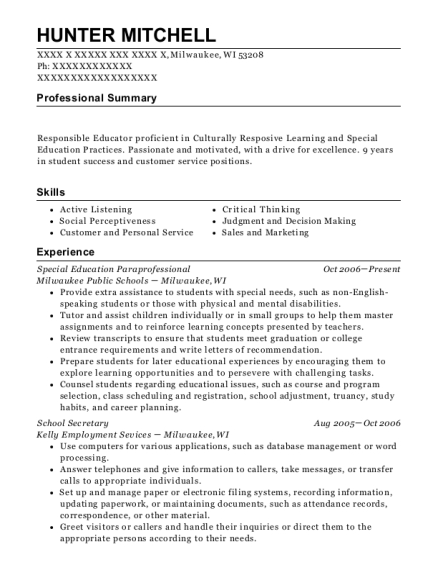 Special Education Paraprofessional resume format Wisconsin