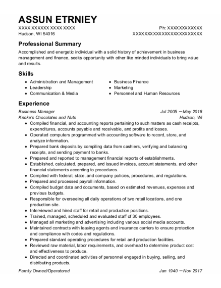Business Manager resume format Wisconsin