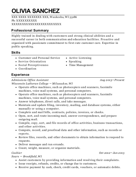 Admissions Office Assistant resume example Wisconsin