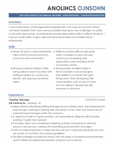 Store Manager resume example Wisconsin