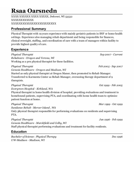 Physical Therapist resume sample Wisconsin