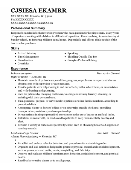 In Home Caregiver resume sample Wisconsin