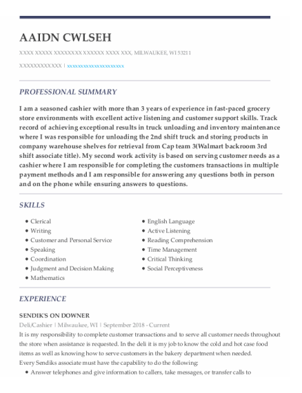 Deli resume template Wisconsin