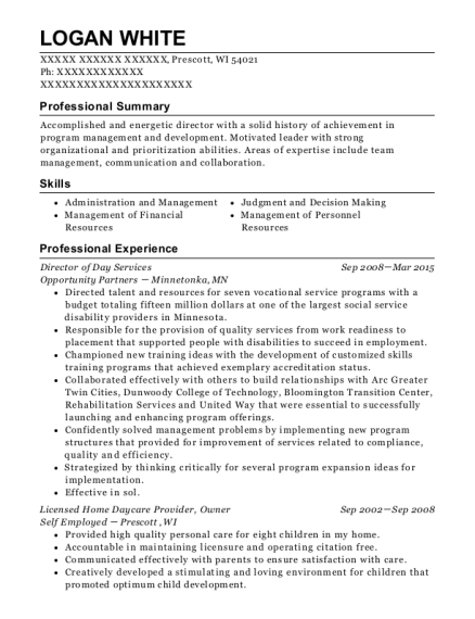 Director of Day Services resume example Wisconsin