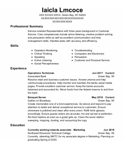 Operations Technician resume format Wisconsin
