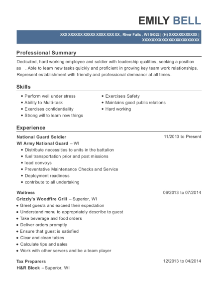 National Guard Soldier resume template Wisconsin