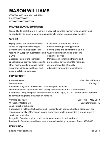 Auto technician resume sample Wisconsin