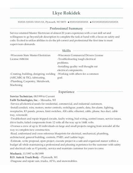 Service Technician resume example Wisconsin