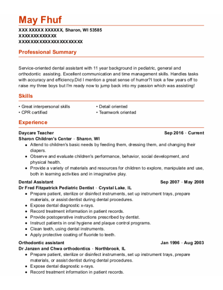 Daycare Teacher resume format Wisconsin