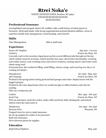 Manufacture resume example Wisconsin