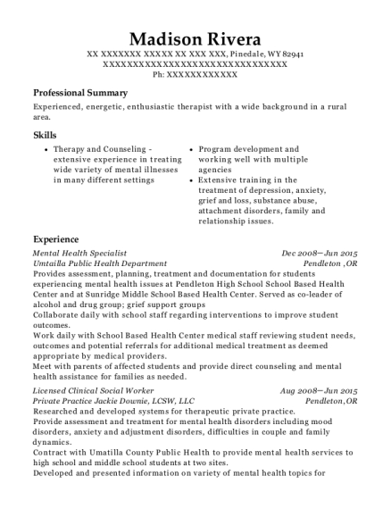 Mental Health Specialist resume template Wyoming
