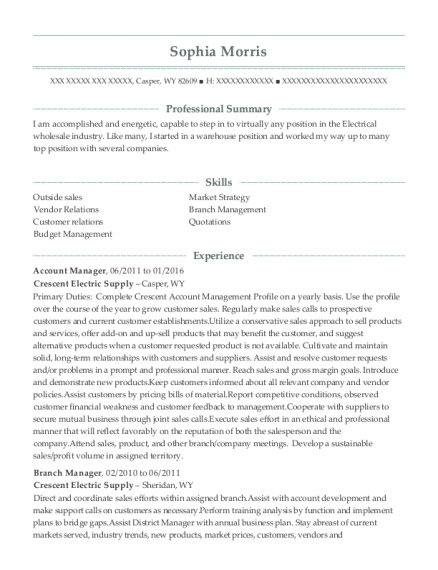 Account Manager resume example Wyoming