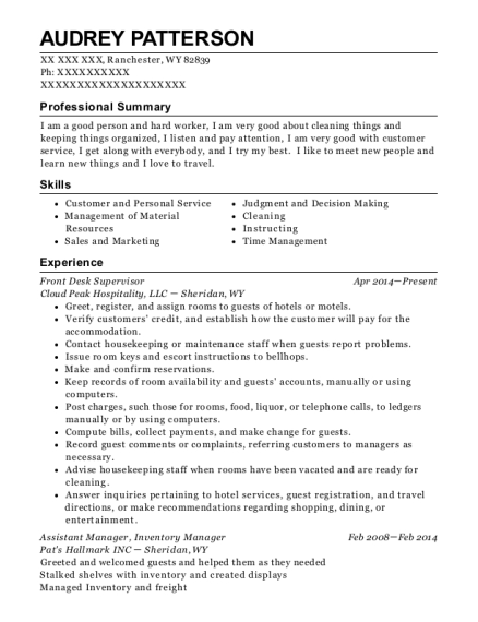 Front Desk Supervisor resume template Wyoming