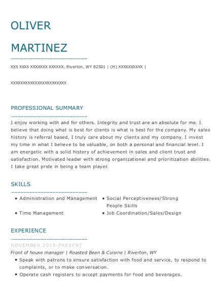 Front of House Manager resume sample Wyoming