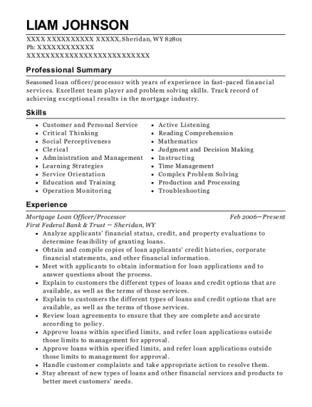 Mortgage Loan Officer resume template Wyoming