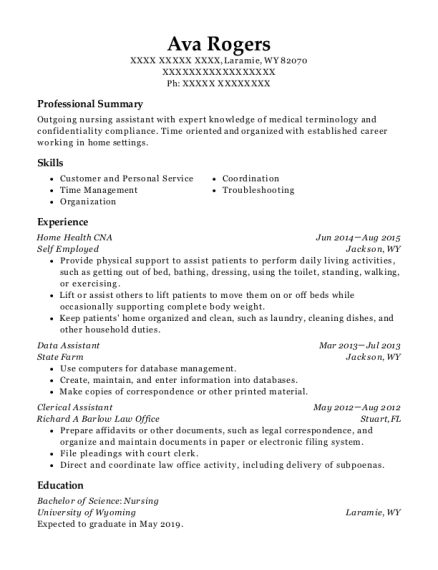 Home Health CNA resume format Wyoming
