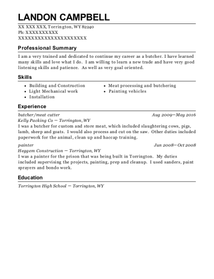 butcher resume format Wyoming