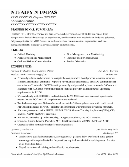 Front Desk Assistant resume template Wyoming