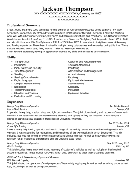 Heavy Duty Wrecker Operator resume example Wyoming