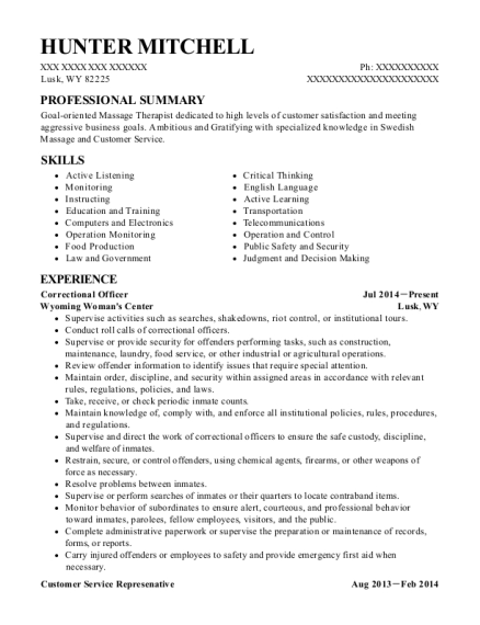 Correctional Officer resume example Wyoming