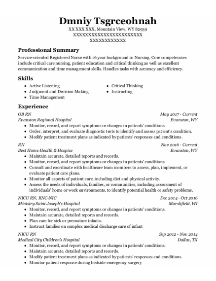 Nicu Rn resume example Wyoming