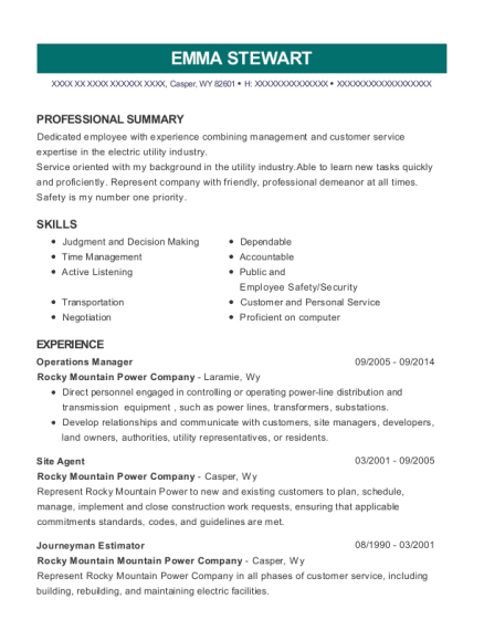 Operations Manager resume template Wyoming