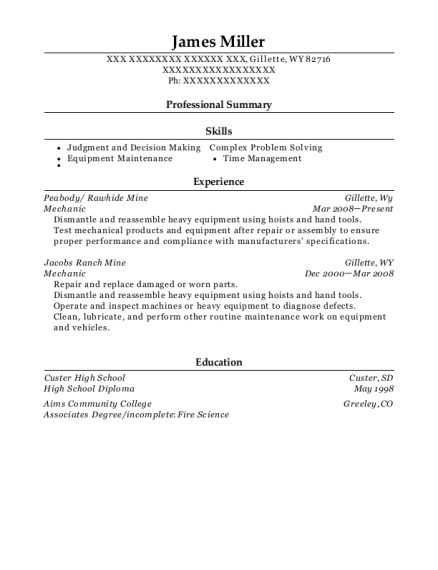 Mechanic resume sample Wyoming