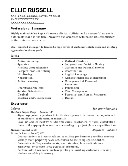 Laborer resume format Wyoming