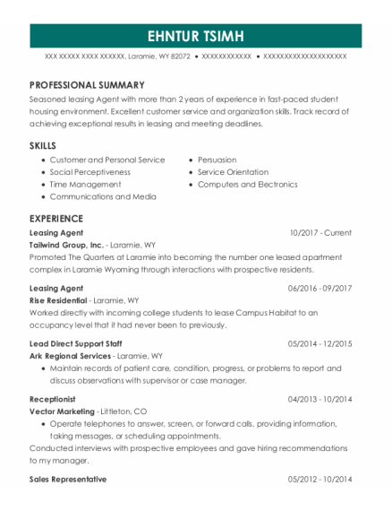 Leasing Agent resume format Wyoming
