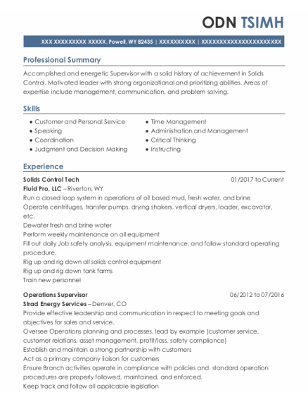Operations Supervisor resume example Wyoming